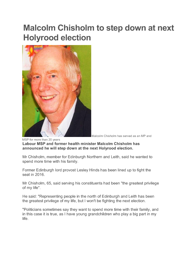 Malcolm Chisholm to step down at next Holyrood election-page1