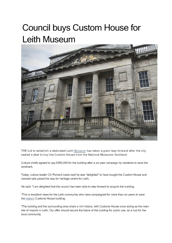 Council buys Custom House for Leith Museum-page1