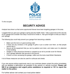 garage advice letter
