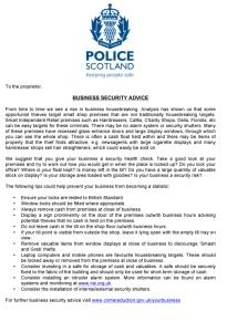 Small Shop Security Advice