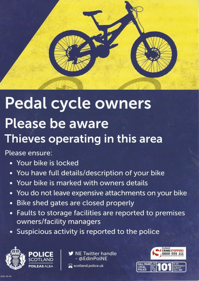 Poster - ensure your bike is locked and you have a full description of it