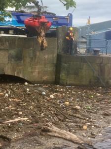 Photo of work to clear the rubbish under Victoria Bridge
