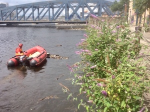 Photo of inflatable boat being used to clear the rubbish under Victoria Bridge