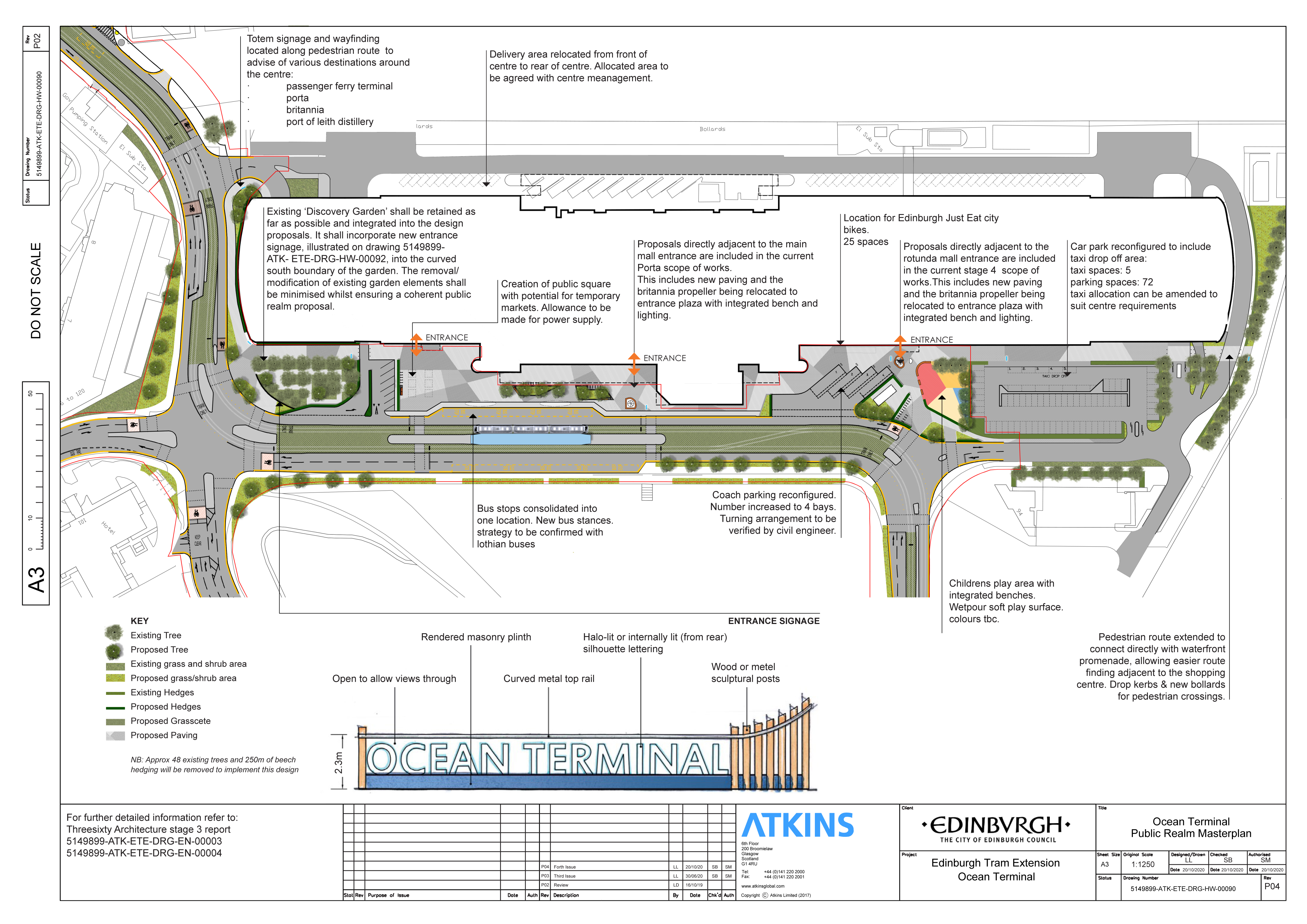 drawing of Ocean Terminal tram-plans, showing retention of Discovery Gardens