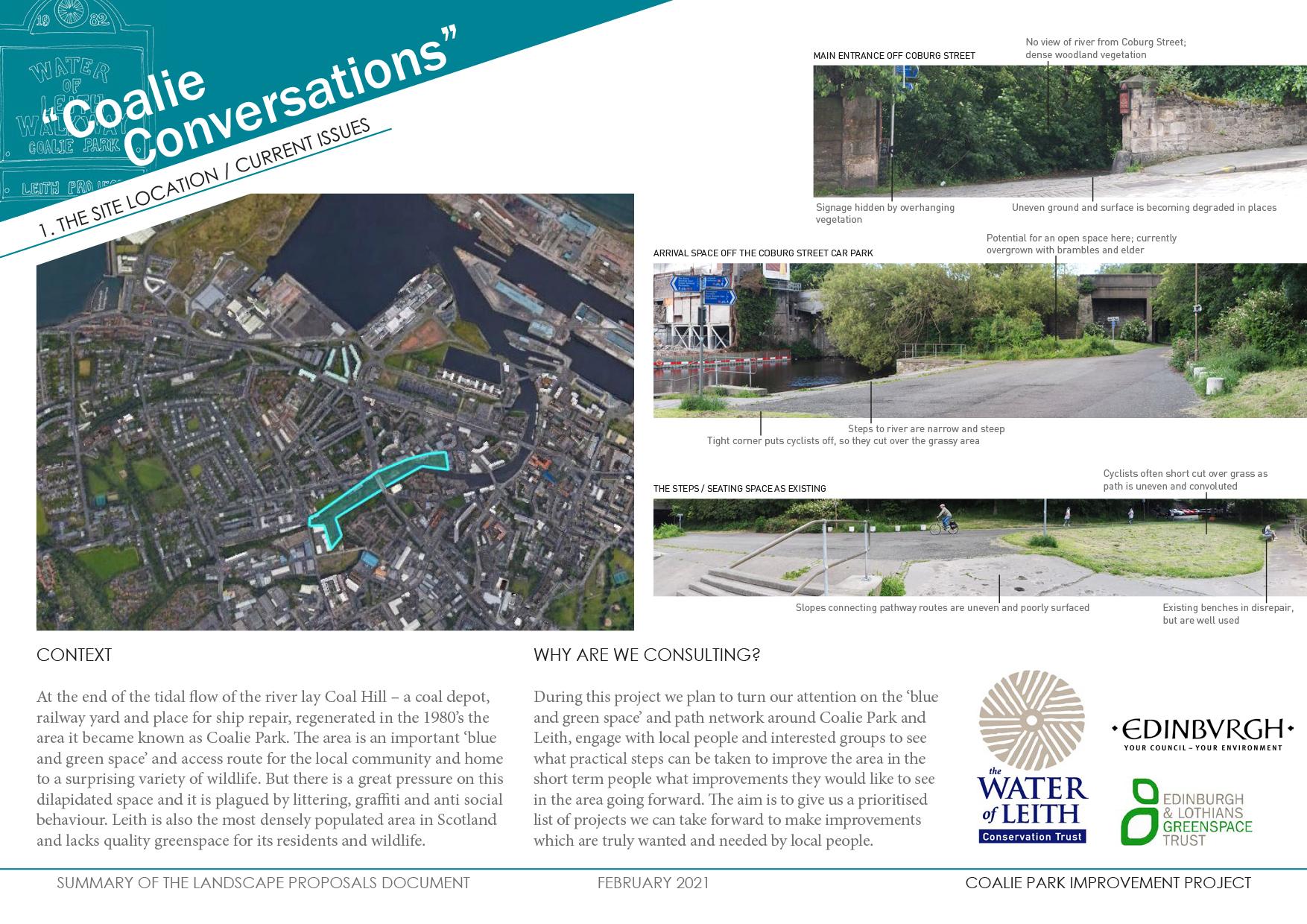 PDF about Coallie Conversations, showing landscaping proposals etc