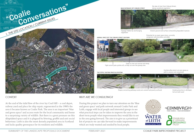 PDF about Coallie Conversations, showing landscaping proposals etc