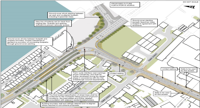 a map showing the proposed landscaping around the tram route on Stevedore Place